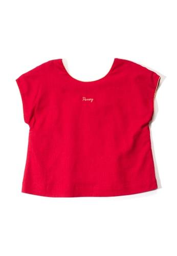 PONEY red Poney Kid Myla Lurex Trims Short Sleeve Blouse 2B693KAAFDAC6AGS_1