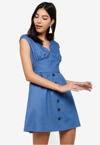 ZALORA blue V-neck Button Down Dress 2A193AA2423F87GS_1