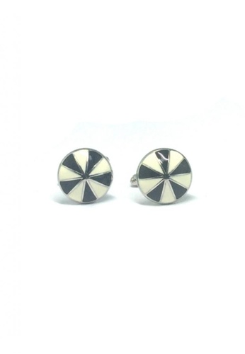 Splice Cufflinks black and white Black and White Patterned Round Cufflinks   SP744AC88EDVSG_1