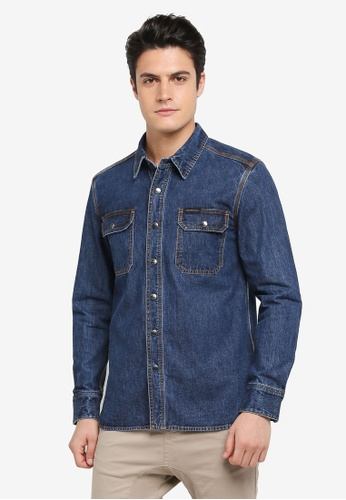 Calvin Klein blue Dumbo Shirt Jacket - Calvin Klein Jeans 3EF6DAACDDB656GS_1