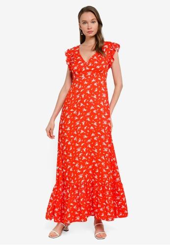 PIMKIE red Floral Maxi Dress 6770BAABC3DFF6GS_1