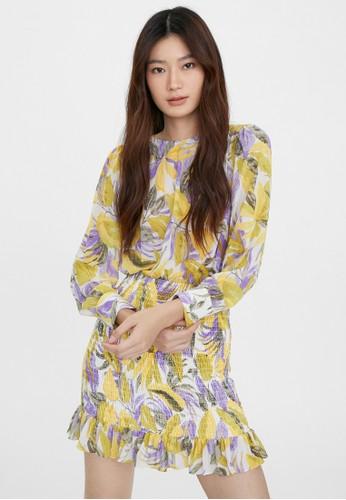 Pomelo yellow Tropical Leaf Print Smocked Dress - Yellow FBA3FAA228004BGS_1