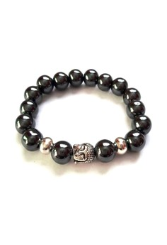 Feng Shui Hematite Silver Plated Healing Buddha Bracelet
