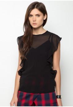 Flow See Through Butterfly Sleeve Shirt