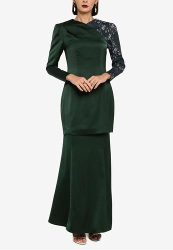 Zalia green Puff Sleeve With Dress Kurung Set A51A7AAB1896E4GS_1