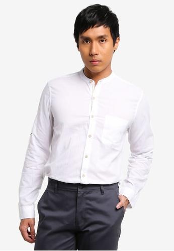 LC Waikiki white Extra Slim Fit Grandad Collar Long Sleeves Shirt 29C39AA747728AGS_1