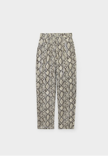 Pomelo brown Snake Print Slim Leg Tailored Pants - Brown F85B7AA301614BGS_1