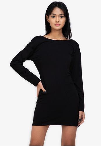 ZALORA BASICS black Jersey Twist Back T-Shirt Dress BFFDDAA0807B96GS_1