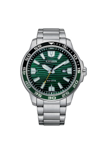 Citizen silver CITIZEN ECO-DRIVE AW1526-89X GREEN DIAL STAINLESS STEEL MEN'S WATCH 09850AC7AB0ECAGS_1