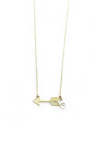 Trinkets for Keeps silver and gold Arrow and Heart Necklace TR047AC68MBZPH_1