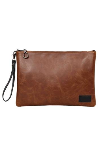 Lara brown Plain Zipper Hand Bag - Brown 166F5AC0BA20E6GS_1
