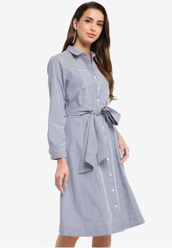 J.Crew white and navy Maribou Mixy Stripe Shirt Dress 5501AAA5FAD250GS_1