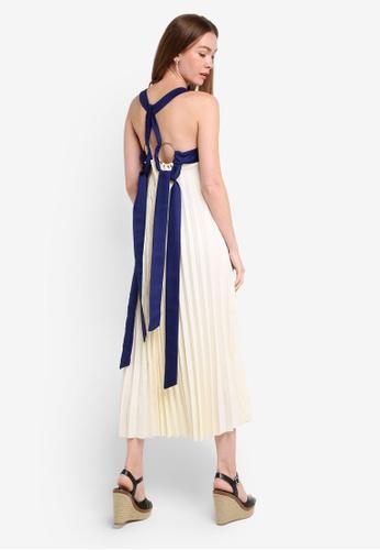Megane beige Gallia Pleated Maxi Dress ME617AA0RR2NMY_1