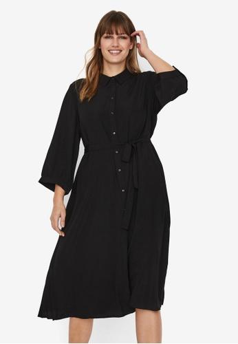 Vero Moda black Cara Calf Shirt Dress Curve CE472AABDFE3FCGS_1