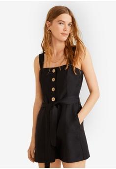 1bae7a228 Mango black Strap Linen-Blend Jumpsuit 66813AAA3A295FGS_1