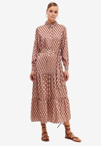Trendyol brown Printed Shirt Dress C340AAAB1B1115GS_1