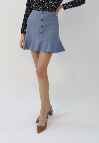 Cheetah blue C.Union Fluted Skirt- CUL-12270 56F40AA4129A80GS_1