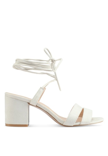 Public Desire white Virgo Strappy Lace Up Heeled Sandals F9C53SHD6ECF36GS_1