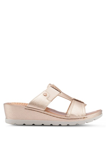 Bata 金色 金屬感繞帶楔型鞋 7F86FSHCDAB68BGS_1