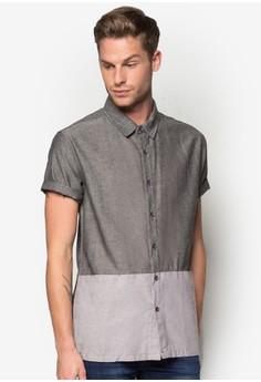 Slit Pocket Color Block Short Sleeve Shirt