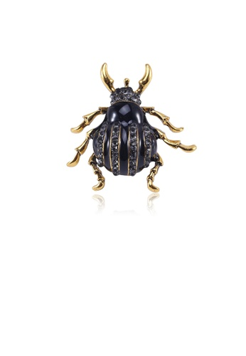 Glamorousky silver Fashion Personality Plated Gold Beetle Brooch with Black Cubic Zirconia C2753AC763876CGS_1
