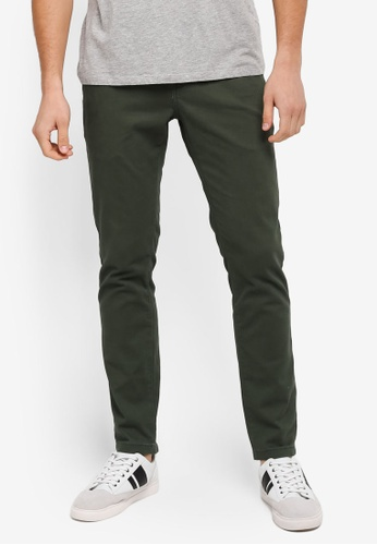 UniqTee green Slim Chinos With Striped Waistband UN097AA0SYTSMY_1