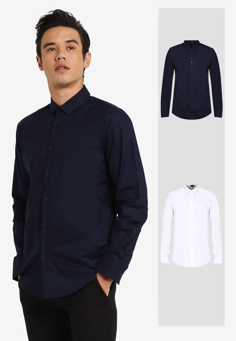White Shirt Pack 2 Long ZALORA Fit Slim Oxford Sleeve Navy Fzxwq7Uxn