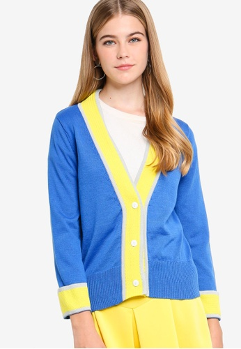 Something Borrowed blue Colorblock Cardigan 9D06BAACAC14E3GS_1