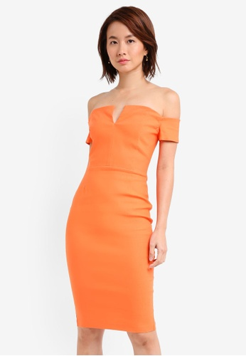 Vesper orange Vesper Nadene Bardot Midi Dress EF7D2AA55A51B5GS_1
