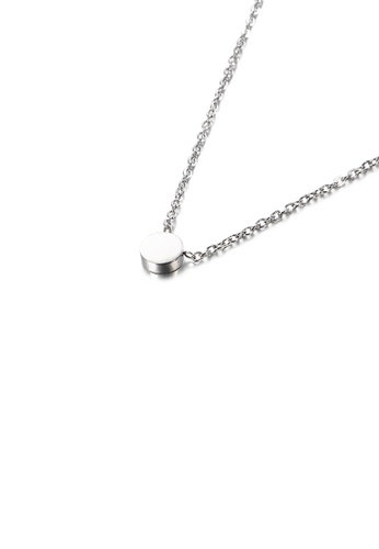 Glamorousky silver Simple and Fashion Geometric Round 316L Stainless Steel Pendant with Necklace EFBF1ACC32C390GS_1