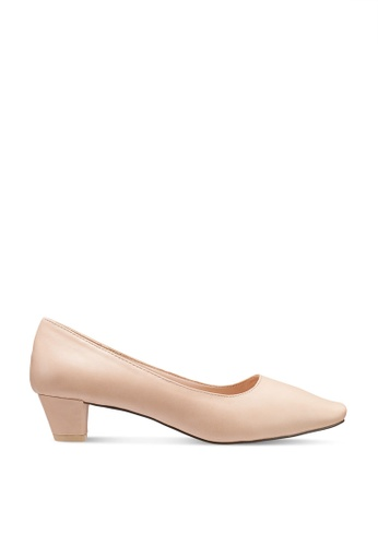 Nose beige Square Toe Low Heel Pumps 67418SHDACDABEGS_1
