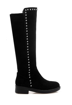 dfb2be9e819b Twenty Eight Shoes black Studs Suede leather Knee Boots VB9045  F5C2BSH4A734FAGS_1