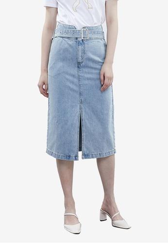 Urban Revivo blue Belted Denim Skirt D29E2AA2D38DEAGS_1