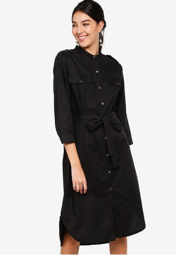 c92c5c26f52e ZALORA black Button Down Midi Shirt Dress with Tie FFDACAA068DD55GS_1