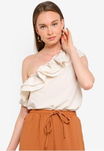 Vero Moda beige Lucinda One Shoulder Top BBEBBAA5302EB8GS_1