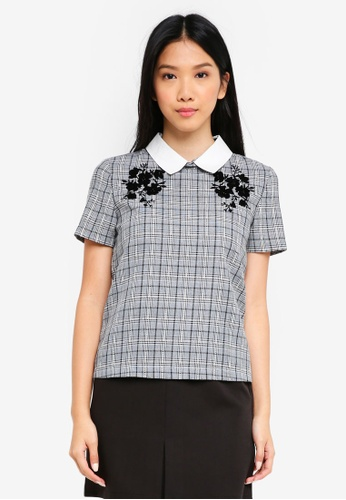 ZALORA grey Collared Top With Flocking 6F744AA95DB112GS_1