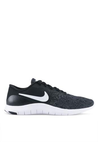Nike black and white Women's Nike Flex Contact Running Shoes NI126SH0STXHMY_1