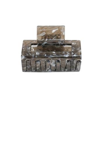 Glamorousky grey Fashion Simple Grey Pattern Geometric Hair Claw E5330AC3307C44GS_1