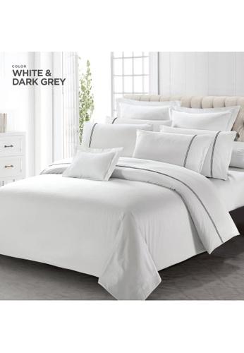 Horgen white Horgen Luxe Collection Barrett Hotel Series White & Dark Grey Fitted Sheet Set. 683FFHL86EE5D1GS_1