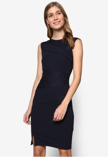 蕾絲起zalora 鞋評價褶不對稱拼接無袖連身裙, 服飾, 洋裝