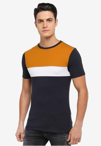 River Island navy Amber Block Pique T-Shirt 04747AAA9C3261GS_1