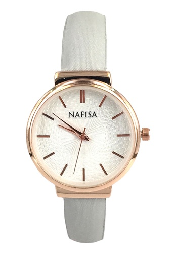 Chronomart grey and white Nafisa Small Round Rose Gold Dial Grey  Flannelet Strap Wrist Watch CH783AC78QWZPH_1