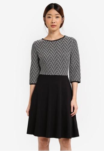 Dorothy Perkins black Zig Zag Pattern Dress DO816AA0T055MY_1