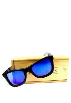 Classic Black Frame, Dark Blue Revo Lens Wooden Sunglasses