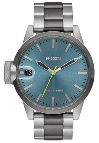 Nixon grey and green and blue Nixon - Chronicle 44 - Gunmetal/Aqua NI855AC24KHFSG_1