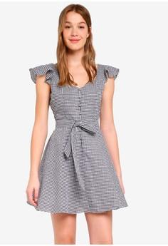 格紋短洋裝
