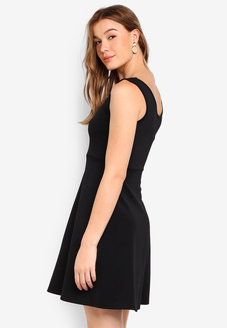 Fit Neck Scoop amp; pack Flare ZALORA Basic Dress Blush Black BASICS 2 FwISUcqxI