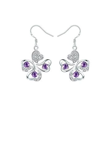 Glamorousky purple Elegant Four-leafed Clover Earrings with Purple Austrian Element Crystal 46B8EACA8E6E5DGS_1