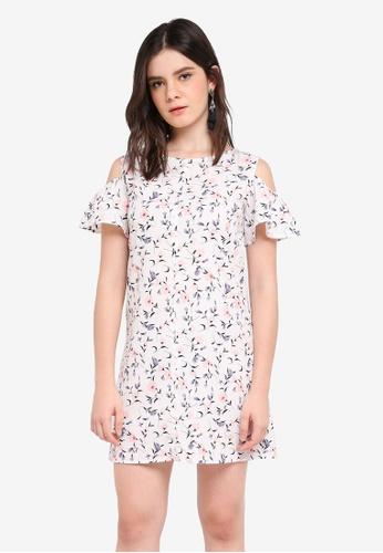 ZALORA white Cold Shoulder Shift Dress 6766FAA0C63496GS_1