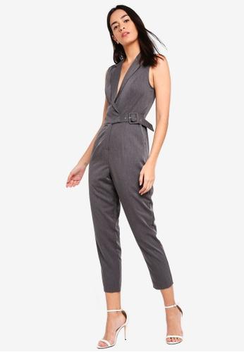 ZALORA grey Blazer Jumpsuit 56796AABD8D267GS_1